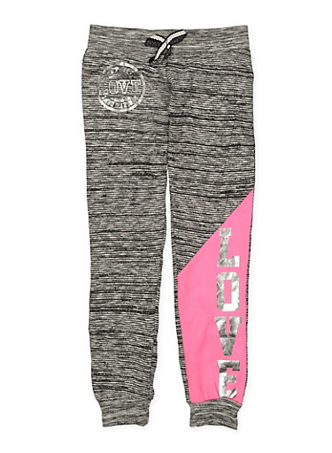 Girls 7-16 Love Foil Graphic Joggers,CHARCOAL,large