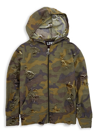 Girls 7-16 Distressed Camo Hooded Sweatshirt,CAMO,large