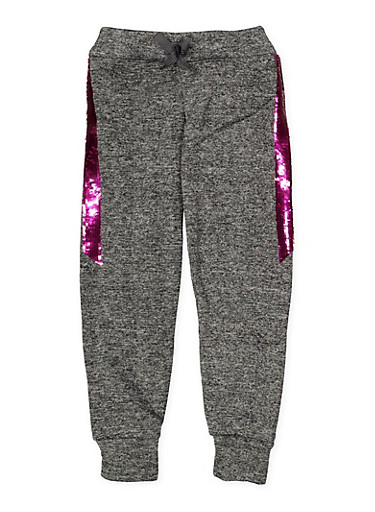Girls 7-16 Reversible Sequin Trim Joggers,CHARCOAL,large
