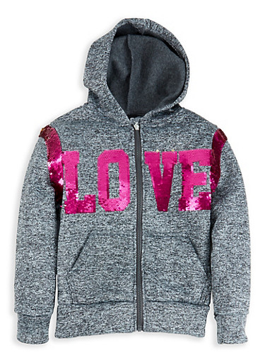 Girls 7-16 Love Reversible Sequin Sweatshirt,CHARCOAL,large