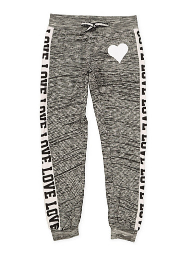 Girls 7-16 Love Heart Joggers,CHARCOAL,large