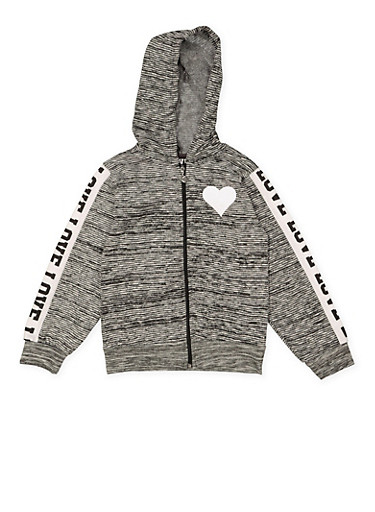 Girls 7-16 Love Heart Zip Up Sweatshirt,CHARCOAL,large