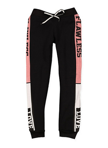 Girls 7-16 Flawless Love Graphic Joggers,BLACK,large