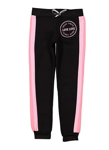 Girls 7-16 Love Striped Side Joggers,BLACK,large