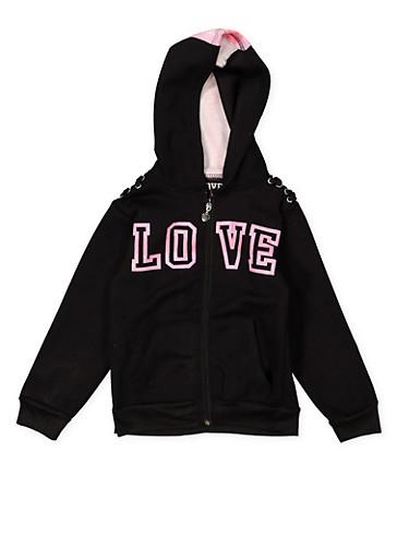 Girls 7-16 Love Graphic Hooded Sweatshirt,BLACK,large