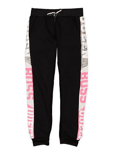 Girls 7-16 Queen Boss Graphic Joggers,BLACK,large