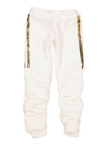 Girls 7-16 Love Foil Trim Ruched Joggers,WHITE,large