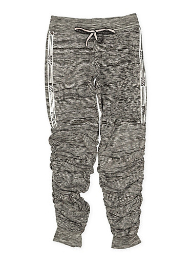 Girls 7-16 Boss Graphic Ruched Joggers,CHARCOAL,large