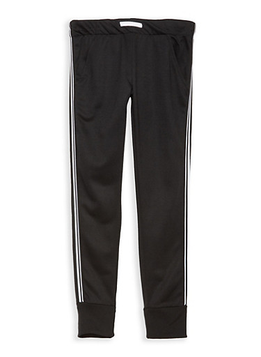 Girls 7-16 Side Stripe Sweatpants,BLACK,large
