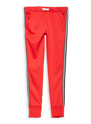 Girls 7-16 Side Stripe Sweatpants,RED,large