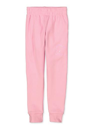 Girls Puma Iridescent Logo Pink Joggers,PINK,large