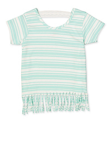 Girls 7-16 Striped Fringe Tee,MINT,large