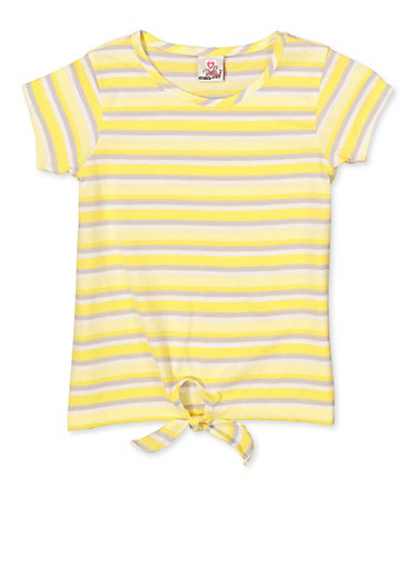 Girls 7-16 Striped Tie Front Tee,YELLOW,large