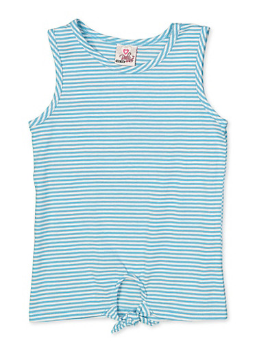 Girls 7-16 Striped Tie Front Tank Top,TURQUOISE,large