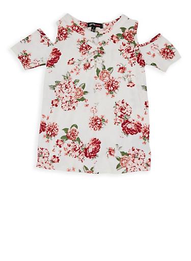 Girls 4-6x Floral Cold Shoulder Top,IVORY,large