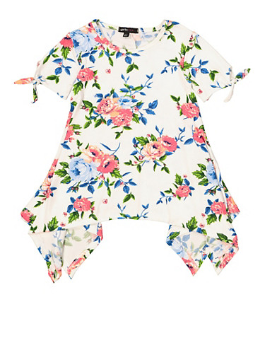Girls 4-6x Floral Tie Sleeve Asymmetrical Top,IVORY,large