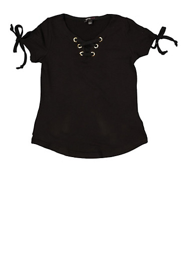 Girls 4-6x Lace Up Tie Sleeve Top,BLACK,large