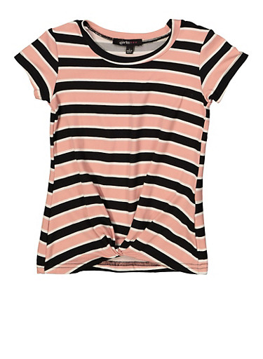 Girls 4-6x Twist Front Striped Tee,MAUVE,large