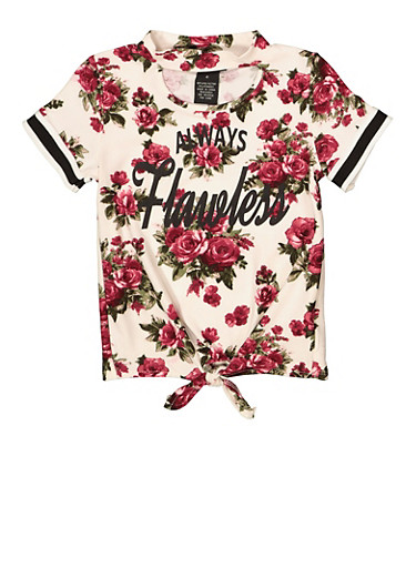 Girls 4-6x Always Flawless Floral Tee,WINE,large