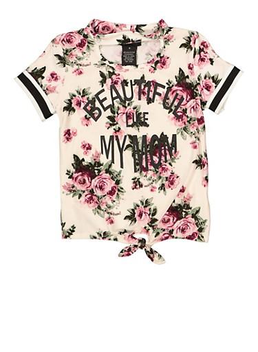 Girls 4-6x Beautiful Like My Mom Floral Tee,MAUVE,large