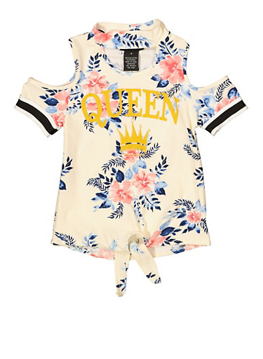 Girls 4-6x Queen Graphic Floral Tie Front Tee,IVORY,large