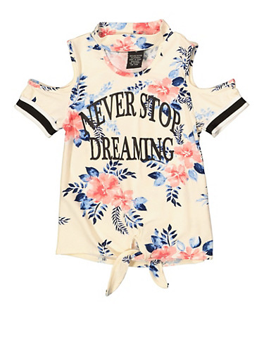 Girls 4-6x Never Stop Dreaming Cold Shoulder Top,IVORY,large