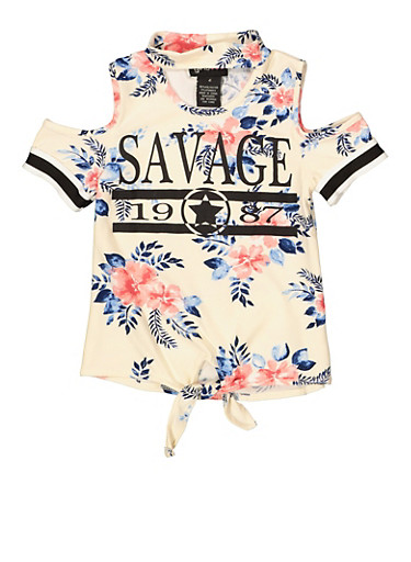 Girls 4-6x Savage Floral Cold Shoulder Top,IVORY,large