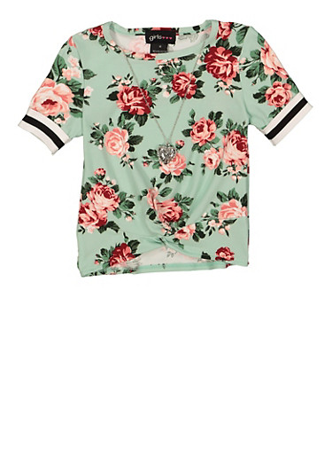 Girls 4-6x Floral Twist Front Tee,MINT,large