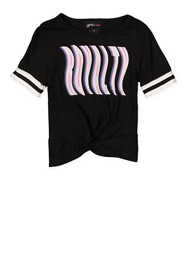 Girls 4-6x Royalty Striped Elastic Cuff Tee,BLACK,large
