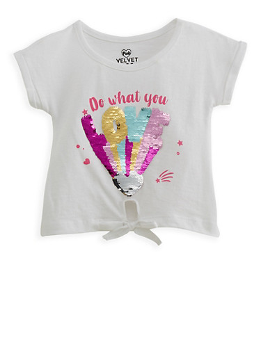 Girls 2T-6x Reversible Sequin Graphic Tie Front Tee,WHITE,large