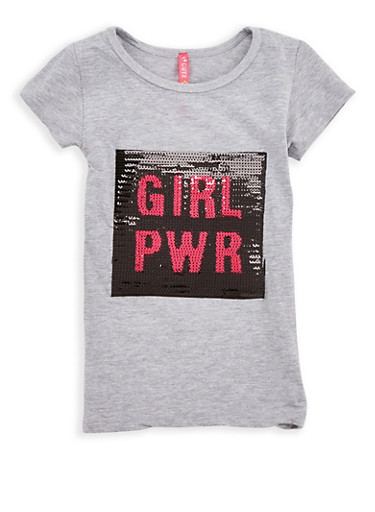 Girls 4-6x Sequin Girl Pwr Graphic T Shirt,HEATHER,large