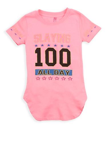 Girls 4-6x Glitter Graphic Tunic T Shirt,NEON PINK,large