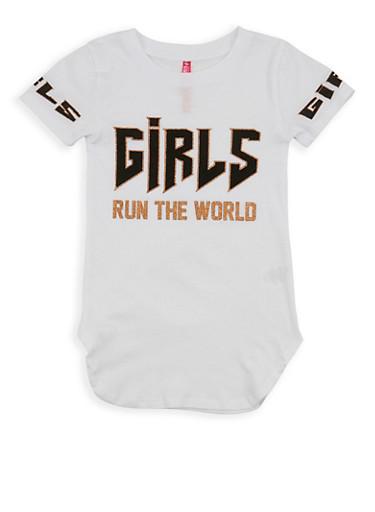 Girls 4-6x Glitter Graphic T Shirt,WHITE,large