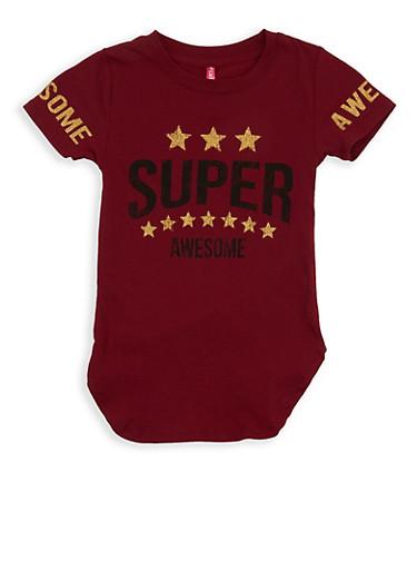 Girls 4-6x Glitter Graphic T Shirt,WINE,large