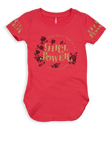 Girls 4-6x Girl Power Graphic Top,CORAL,large
