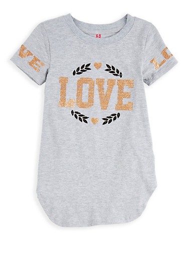 Girls 4-6x Glitter Love Graphic Top,GRAY,large