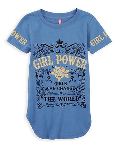 Girls 4-6x Girl Power Graphic Top,DENIM,large