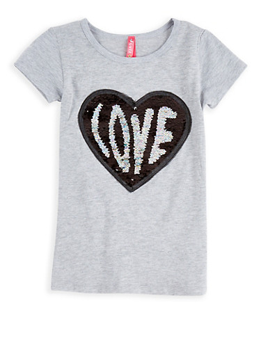 Girls 4-6x Reversible Sequin Heart Top,GRAY,large