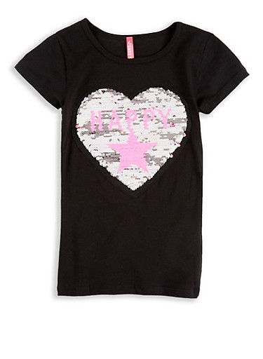Girls 4-6x Reversible Sequin Graphic T Shirt,BLACK,large