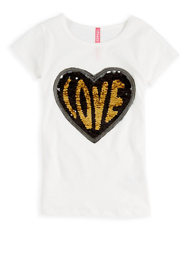 Girls 4-6x Reversible Sequin Graphic T Shirt | Tuggl