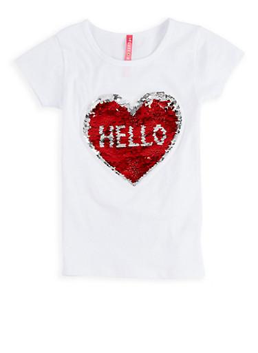 Girls 4-6x Reversible Heart Sequin T Shirt,WHITE,large