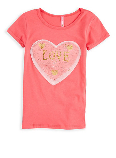 Girls 4-6x Reversible Heart Sequin T Shirt,CORAL,large