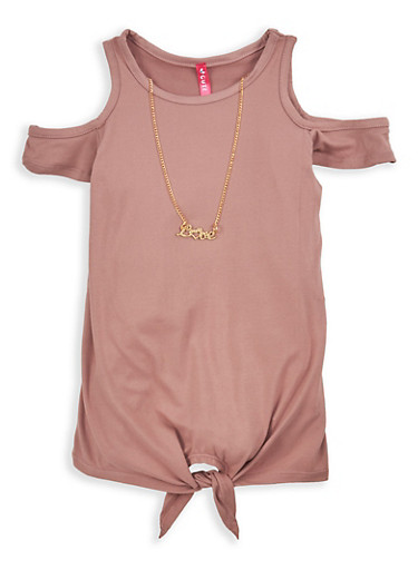 Girls 4-6x Soft Knit Cold Shoulder Top with Necklace,PINK,large