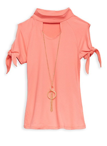 Girls 4-6x Soft Knit Tie Sleeve Top with Necklace,CORAL,large