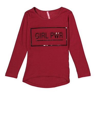 Girls 4-6x 3D Girl Pwr Graphic Tee,WINE,large