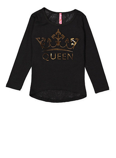 Girls 4-6x 3D Queen Graphic Tee,BLACK,large