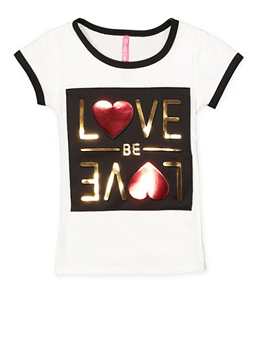 Girls 4-6x Love Be Love 3D Foil Graphic Tee,WHITE,large
