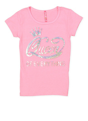 Girls 4-6x Queen of Everything 3D Foil Graphic Tee,NEON PINK,large
