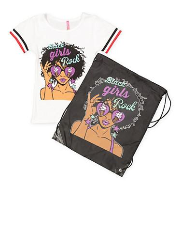 Girls 4-6x Black Girls Rock Tee with Drawstring Backpack,WHITE,large