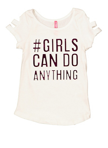 Girls 4-6x Girls Can Do Anything 3D Foil Tee,IVORY,large